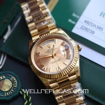 18K Gold Rolex Day-Date Switzerland Movement Rose Gold Dial