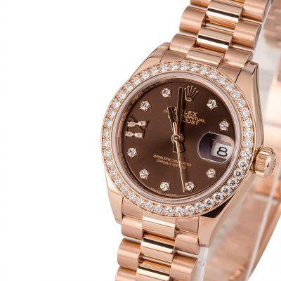 Fake Rolex Vs Real Rolex Ladies Diamond Datejust 279135 Rose Gold