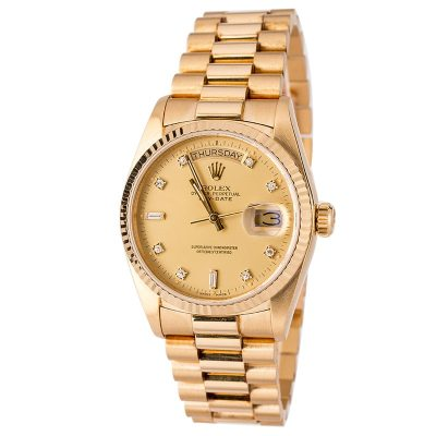 Real Vs Fake Rolex Men's Rolex President Gold Day-date Model 18038