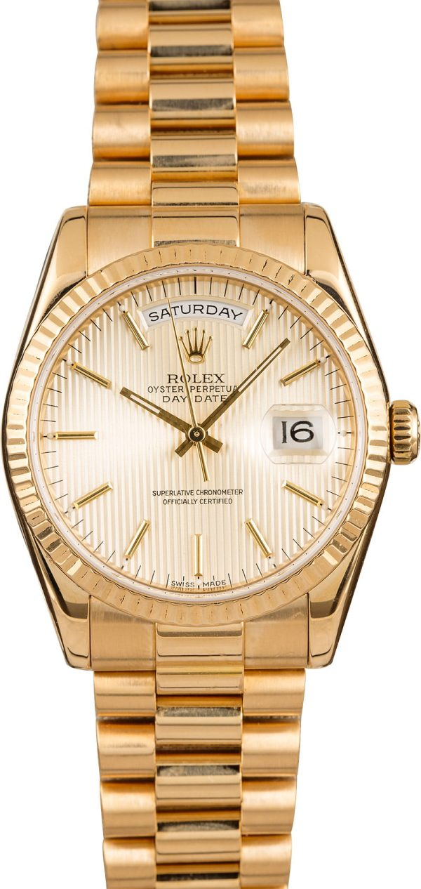 Watch Replicarolex President Gold Day-date 118238 Silver Tapestry Dial