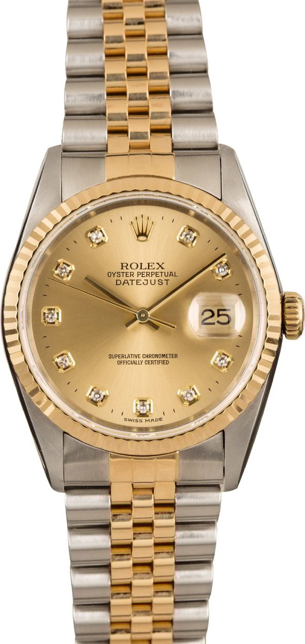 Men Dial Champagne Replica Rolex Datejust 16233 Stainless Steel