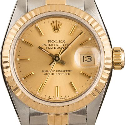 Ladies Dial Champagne Fake Rolex Datejust 69173 Case 26mm Stainless Steel