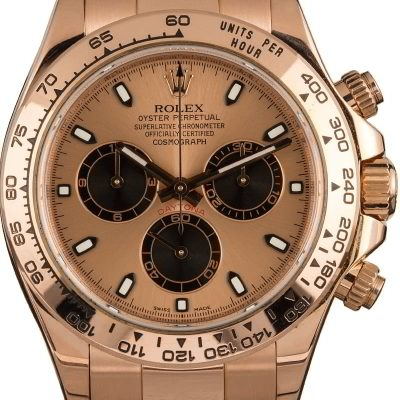 Rose Gold Men Fake Rolex Daytona 116505 Dial Pink Automatic 4130