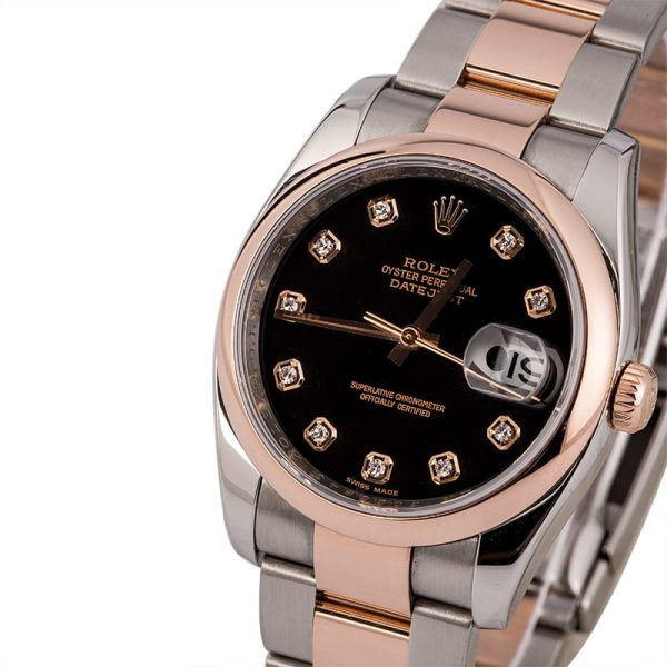 Men Automatic 3135 Replica Rolex Datejust 116201 Dial Black Stainless Steel