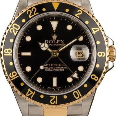 Dial Black Men Replica Rolex Gmt-master Ii 16713 18k Yellow Gold Oyster