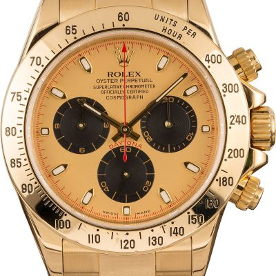 Yellow Gold Men Dial Champagne Fake Rolex Daytona 116528 Automatic 4130