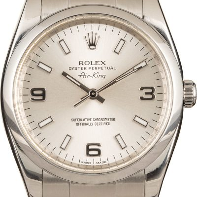 Men Case 34mm Replica Rolex Air-king 114200 Dial Silver Automatic 3130