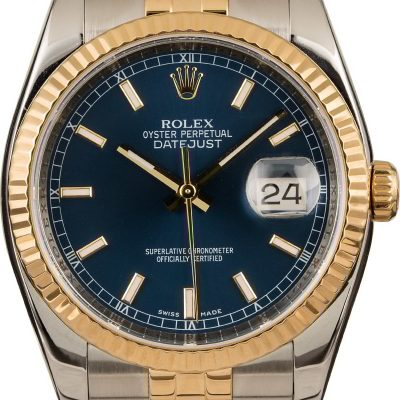 Dial Blue Rolex Replica Rolex Datejust 116233 Case 36mm Stainless Steel