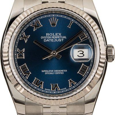 Dial Blue Roman Replica Rolex Datejust 116234 Case 36mm Automatic 3135