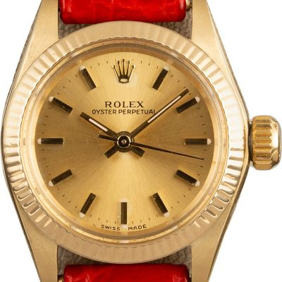 Replica Rolex Oyster Perpetual 6719 Ladies Dial Champagne 18k Yellow Gold