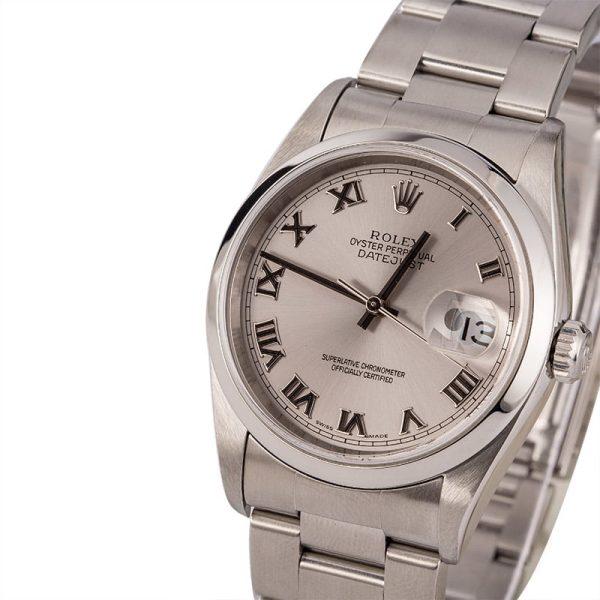 Replica Rolex Datejust 16200 Men Dial Silver Stainless Steel Watch