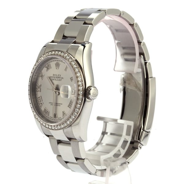 Rolex Datejust 116244 Replica Men's Dial Rhodium Roman Stainless Steel