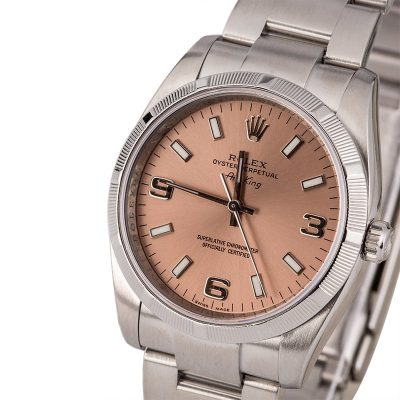 Rolex Fake Air King 114210 Dial Salmon Men's Case 34mm Stainless Steel