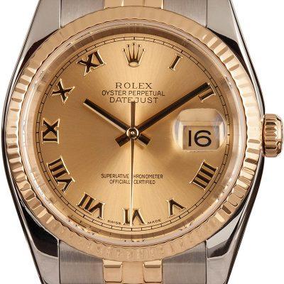 Fake Rolex Datejust 116233 Dial Men's Champagne Roman Automatic 3135
