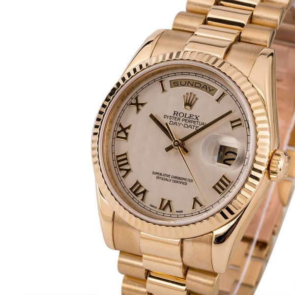 Replica Rolex Day Date 118238 Men's Dial Ivory Pyramid Automatic 3155