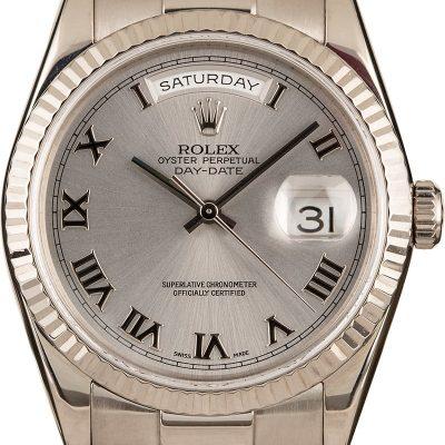 Rolex President 118239 Replica Men's Case 36mm 18k White Gold Watch