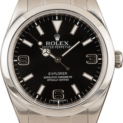 "Rolex Explorer 214270 Fake Men's Dial ""Mark I"" Black Dial Stainless Steel"
