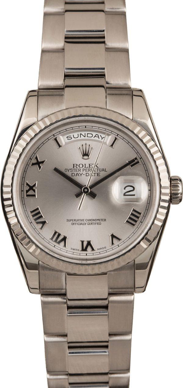 Rolex Day-date President 118239 Fake Men's 18k White Gold Oyster Case 36mm