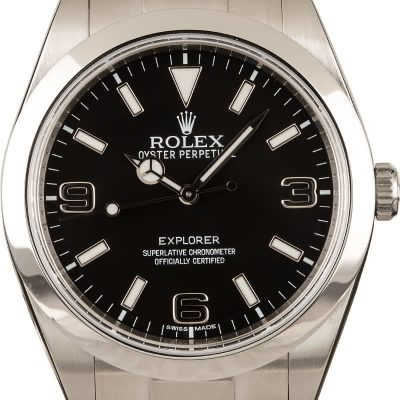 Rolex Explorer 214270 Fake Men's Dial Black Stainless Steel Oyster Automatic 3132